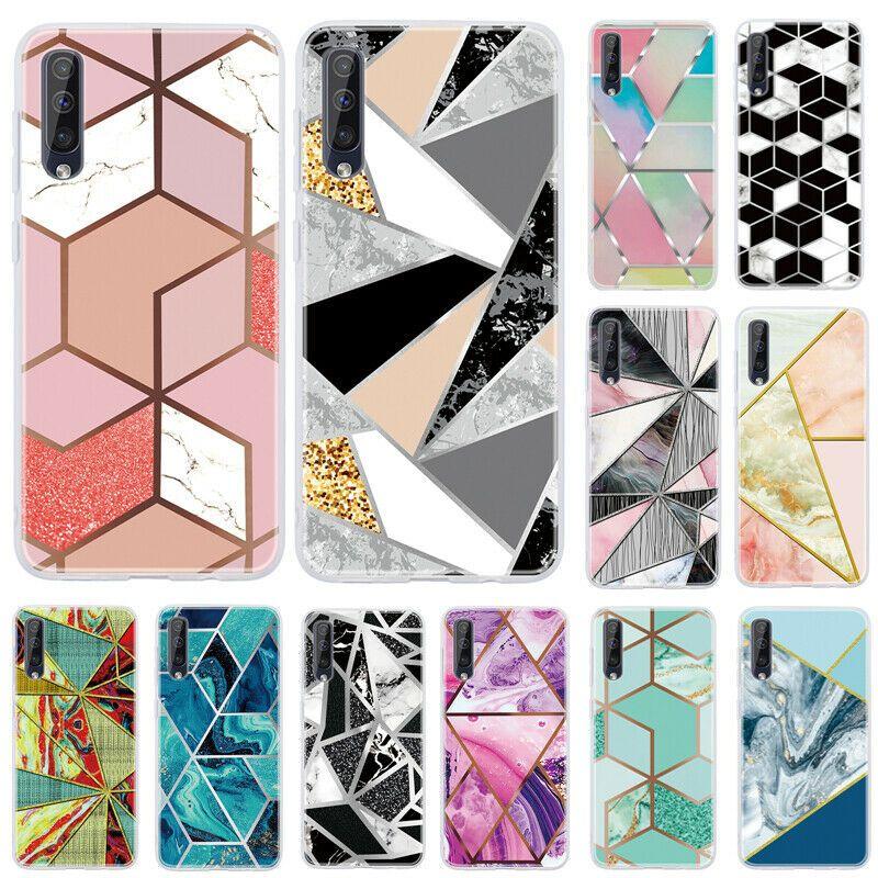 For Samsung Galaxy A10 A20E A40 A50 A70 Marble Geometric