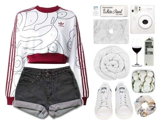 """hide the wine"" by mae-lia ❤ liked on Polyvore featuring adidas Originals, PèPè, adidas, The Fine Bedding Company, Paper Mate and Riedel"