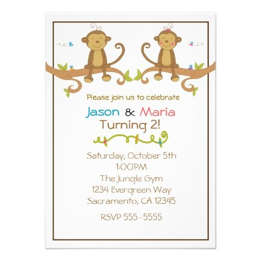 Girl Boy Twin Party Baby Shower Monkey Invitations