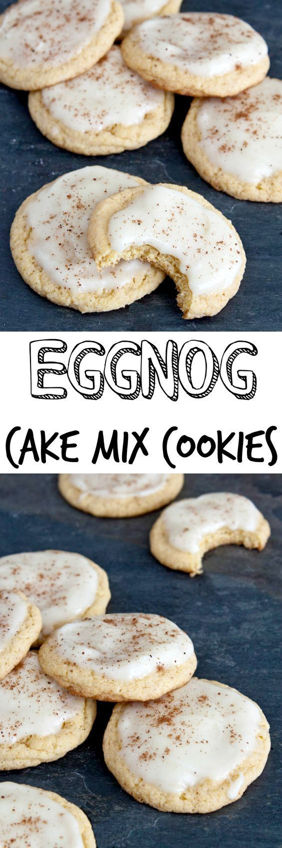 Eggnog cookies made with a cake mix! Use eggnog with the