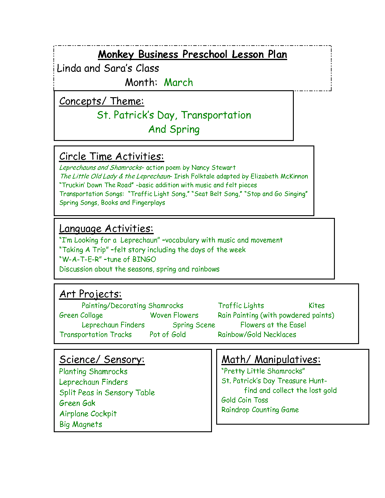 Themes Units Preschool Lesson Plans