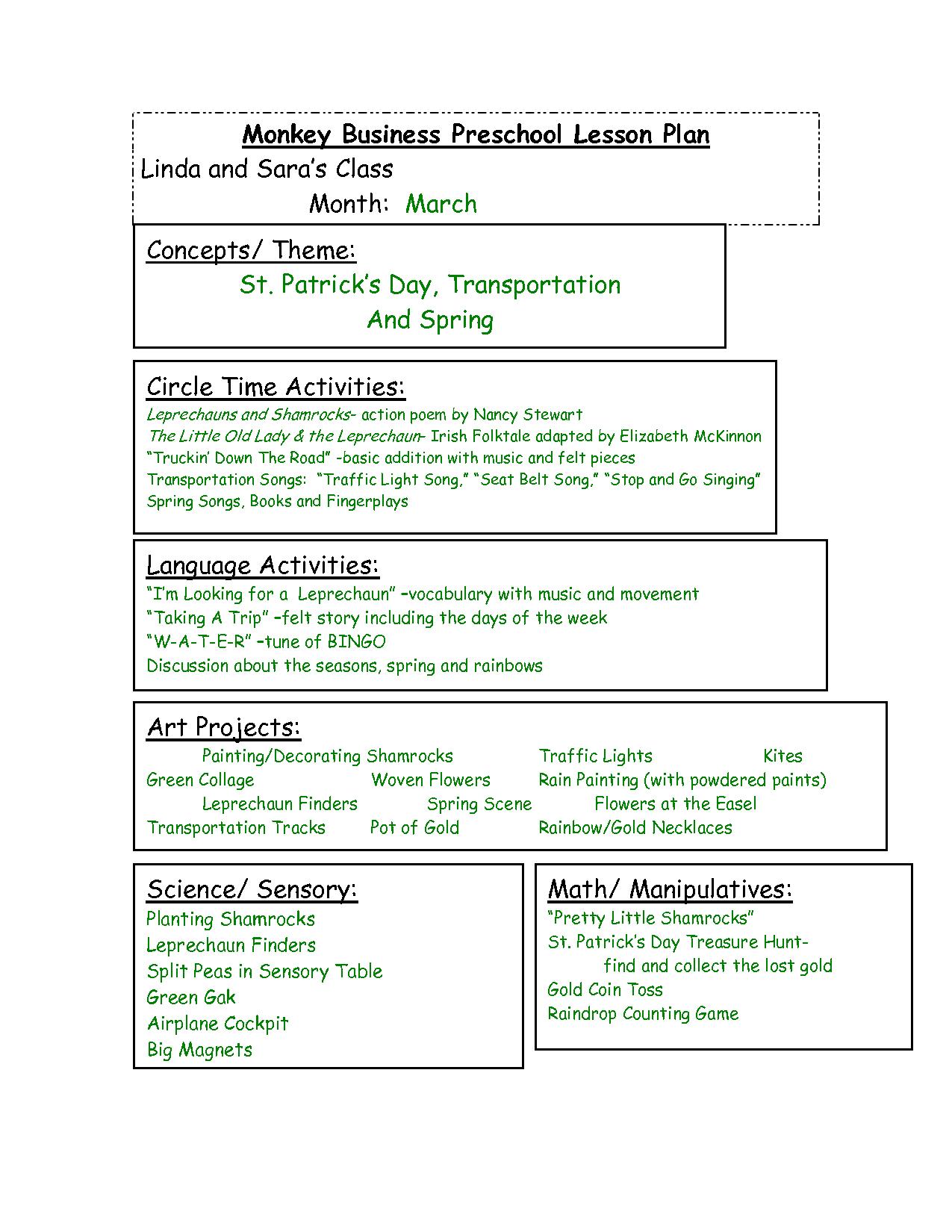 Themes Units Preschool Lesson Plans Monkey Business Preschool Lesson Plan Linda And Sara S