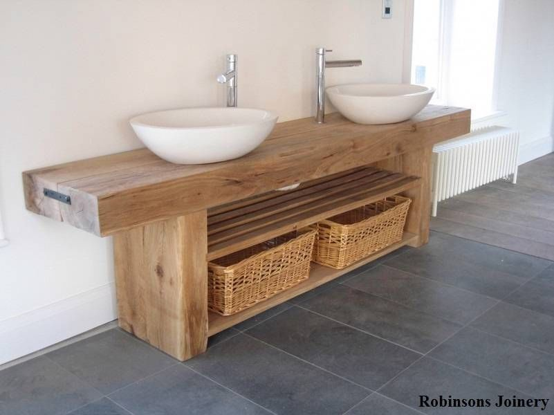 Stunning Rustic Sinks Bathroom From Wooden Material : Charming Oak Beam  Rustic Sink Bathroom
