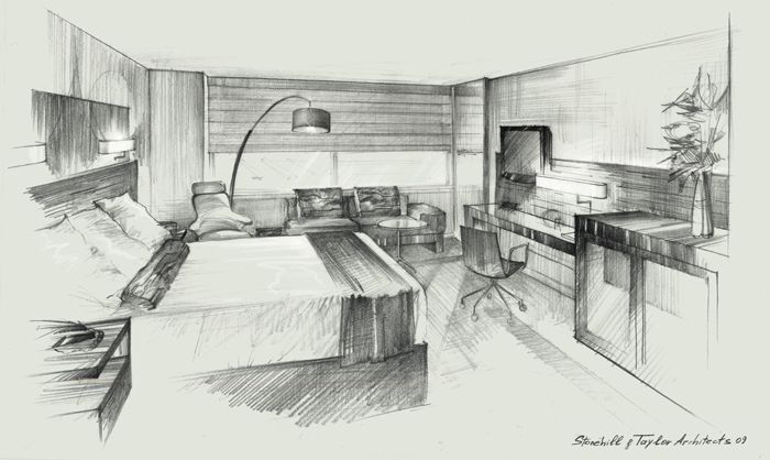 Architectural rendering freehand sketch pencil drawing Room sketches interior design
