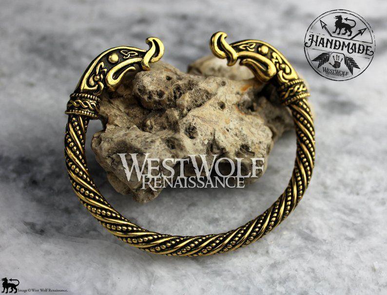 223bfaadf00bb Viking Dragon Torc of Ragnar Lothbrok --- Dragon Head Bracelet or ...