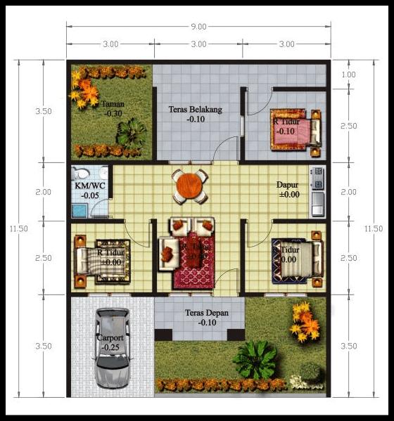 3 Denah Rumah Minimalis 2 Lantai 4 Kamar Png 560 599 Denah Rumah Rumah Minimalis Desain