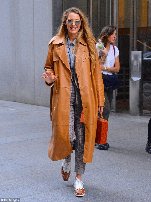 Blake Lively wears orange leather duster ahead of Simple Favor release