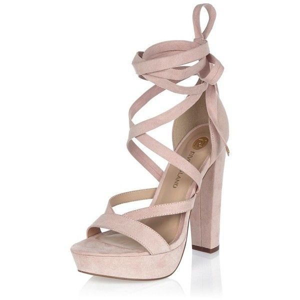 3c9802926 River Island Pink tie-up platform heels ( 110) ❤ liked on Polyvore  featuring shoes