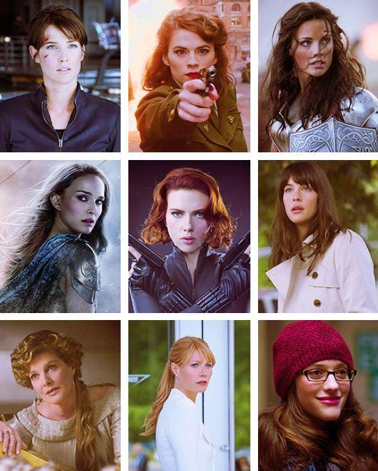 OK I GOT THIS. Agent Maria Hill. Peggy Carter. Sif. Jane Foster. Natasha Romanoff. Betty White. Frigga. Pepper Potts. Darcey. BOOH YAHH.
