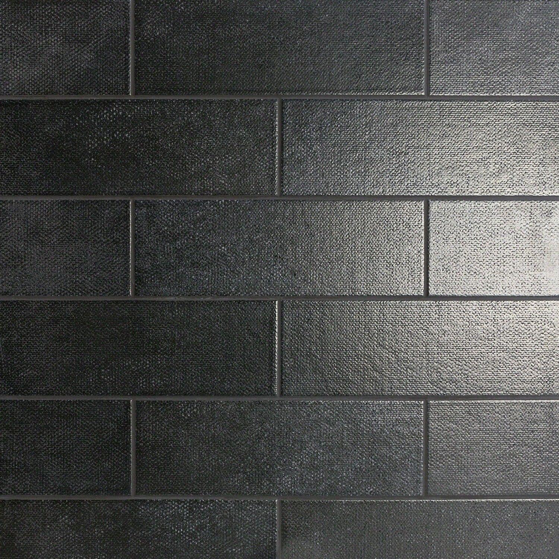Diesel Camp Black Canvas 4x12 Ceramic Tile Black Ceramic Tiles Splashback Tiles Tiles