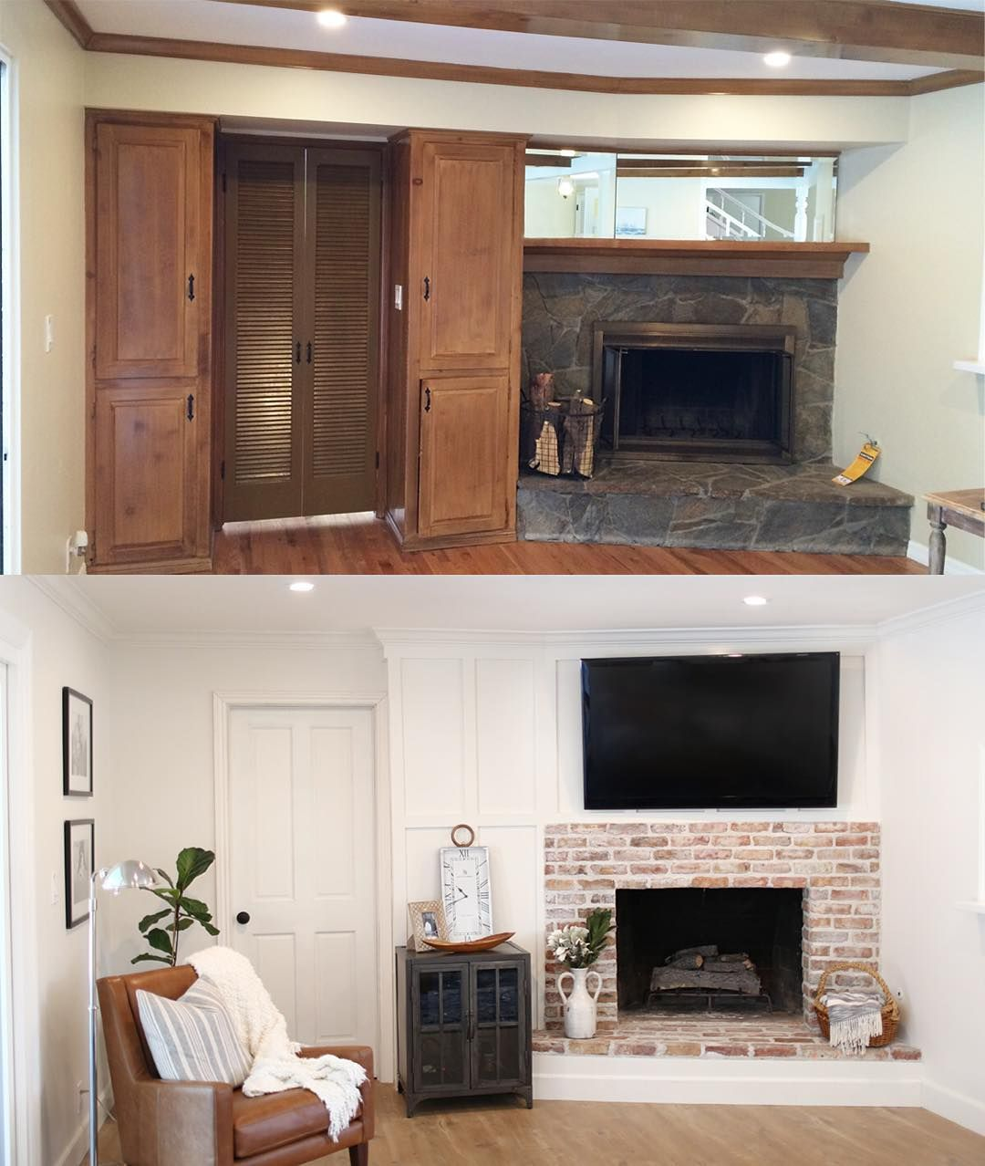 Fireplace Before After We Removed The Soffit Mirror Cabinets