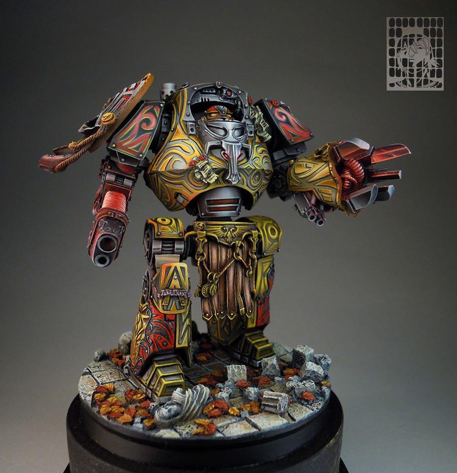 Very fancy Contemptor Dreadnought paint job Warhammer