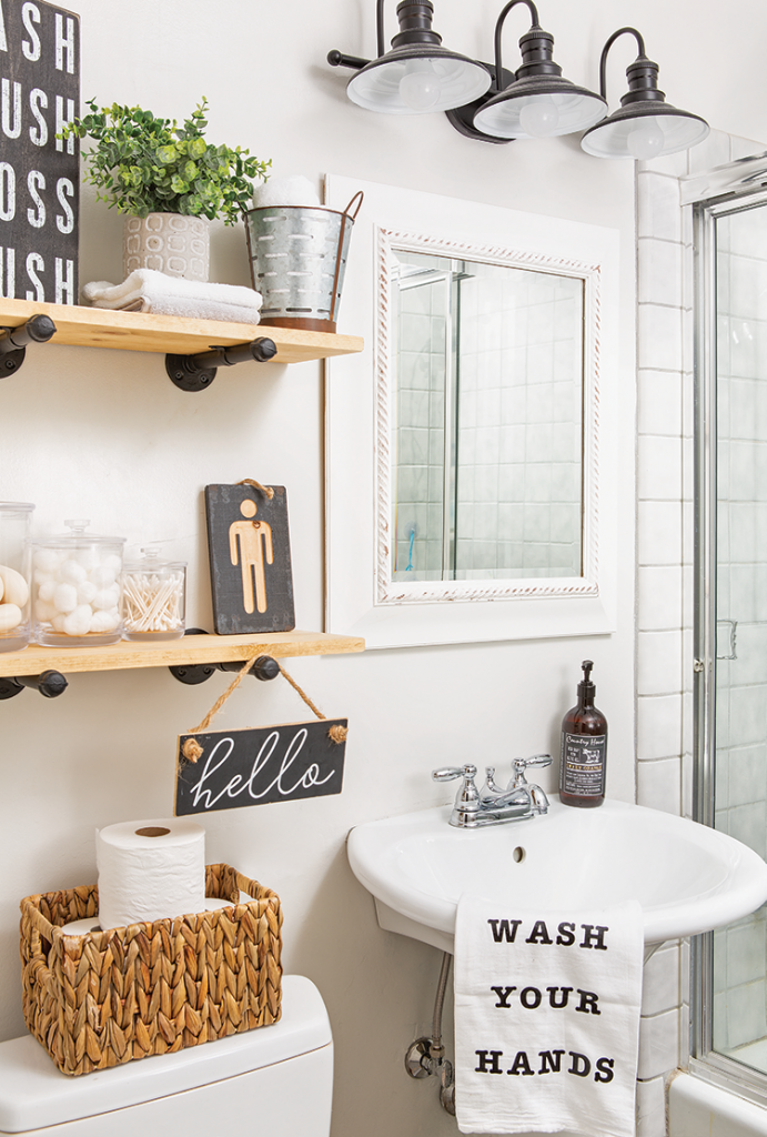 Guest Bathroom With Pedestal Sink Open Shelves And Farmhouse