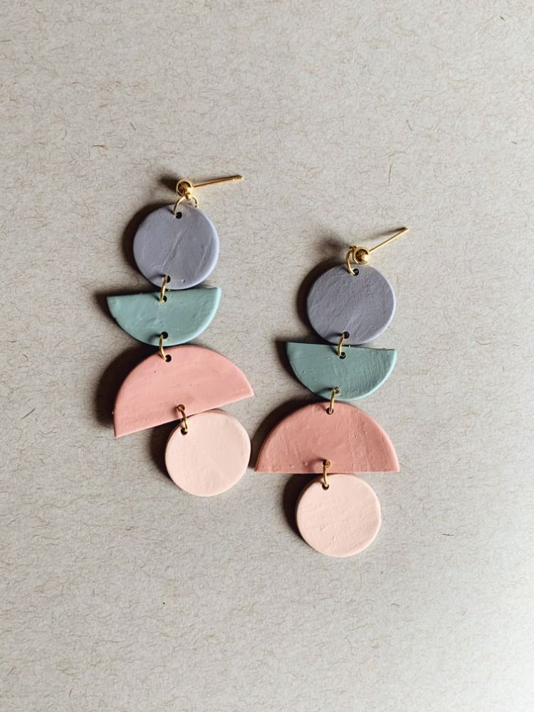 Polymer Clay Earrings Handmade Geometric Earrings Dangle And Drop Earrings Unique Earrings Clay Earrings Trendy Earrings