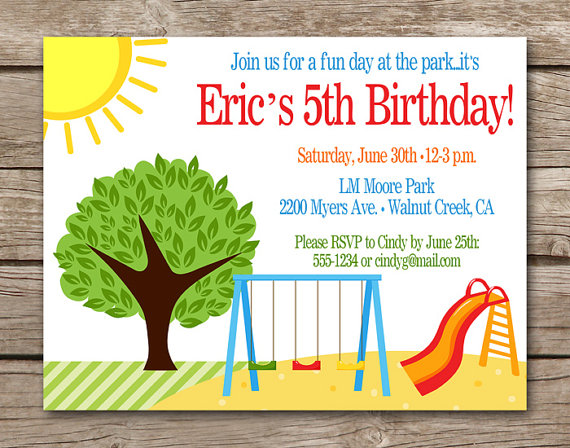 Park Birthday Invitation Park Invitation Park Party Invitation