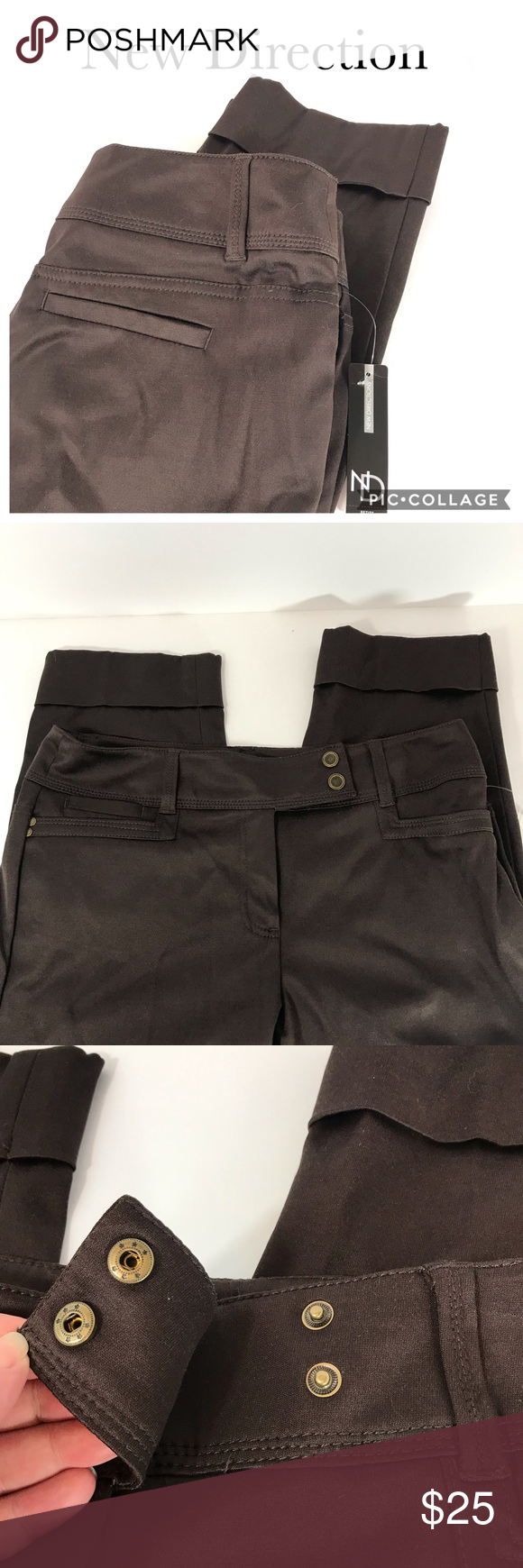 How To Hem Pants With A Cuff Nwt New Direction Shiny Chocolate Cuff Pants 8p Cuffed Pants Pants How To Hem Pants