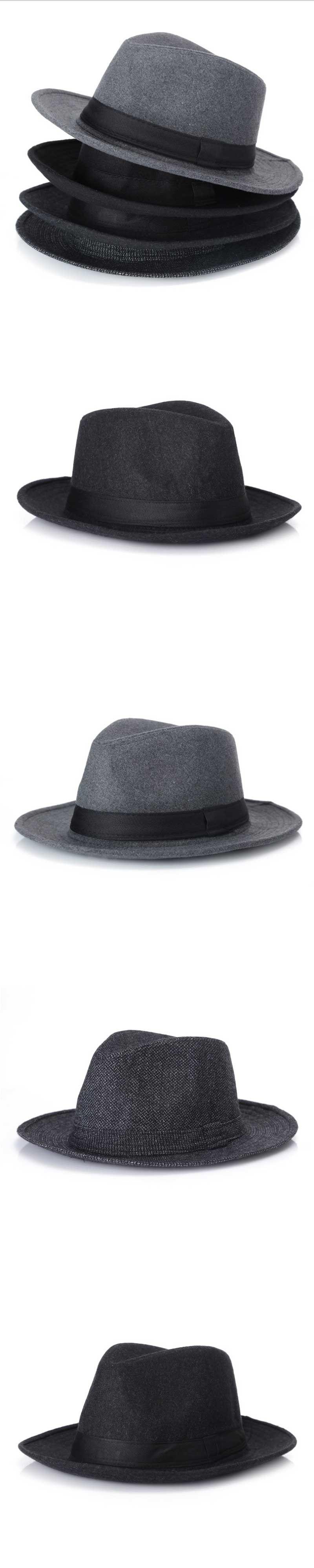 Wool men Black Fedora Hat For Women s Wool Wide Brim JazzChic Cap Vintage  Panama Sun Top 06b1f54934cb