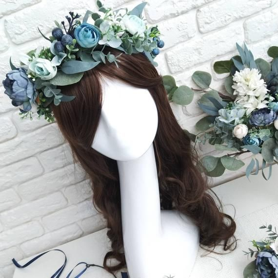 Dusty blue peony and eucalyptus crown Navy blue flower crown Bridesmaid crown Bridal flower crown Greenery hair comb Boutonniere Wedding set #bluepeonies Dusty blue peony and eucalyptus crown Navy blue flower crown image 1 #bluepeonies