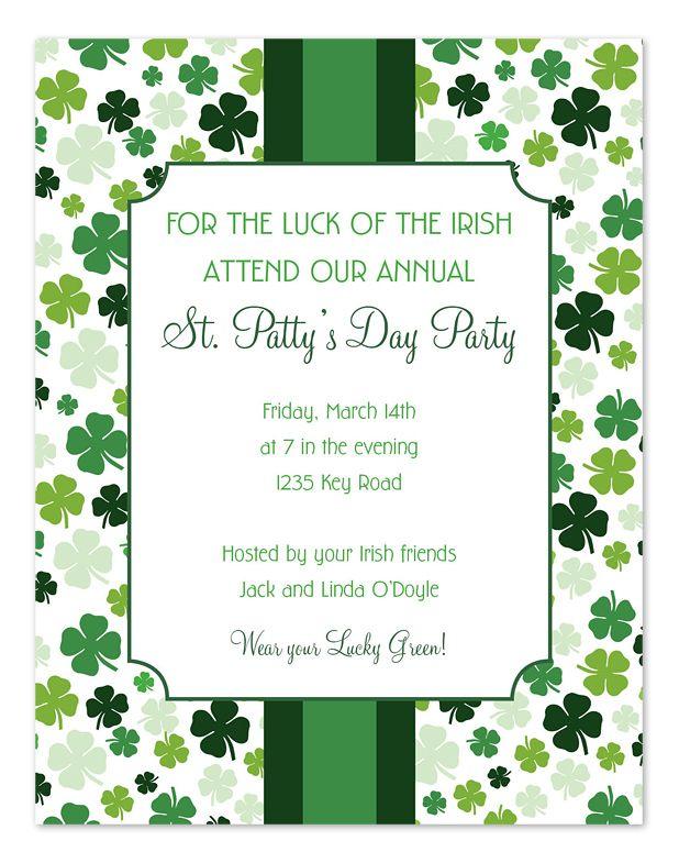 Lucky Pattern St. Patrick\'s Day party invitation   St. Patrick\'s ...