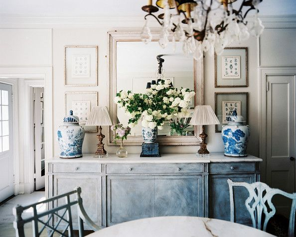 Nice Dining Room Photo   A Dining Sideboard Decorated With Blue And White Ginger  Jars