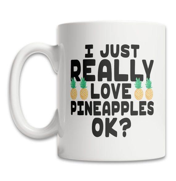 Cute Pineapple Mug  I Love Pineapples Mug  Pineapple Lover | Etsy