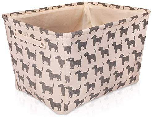 Cream Dog Canvas Storage Basket High Quality Rectangle Fabric