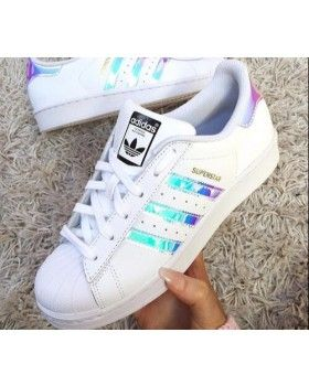 Adidas Superstar Classic White Hologram Iridescent Black Logo � Pink ShoesCute  ...