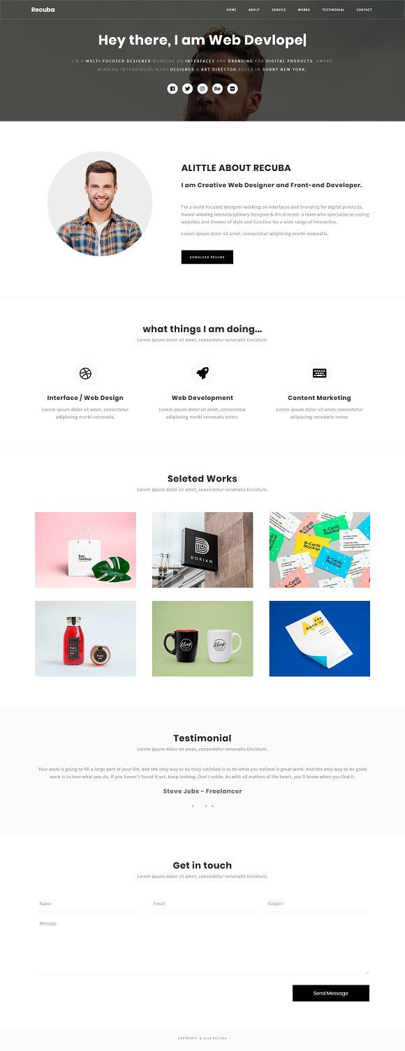 Recuba - Personal Portfolio Template by Restart Technology Shop on @creativemarket