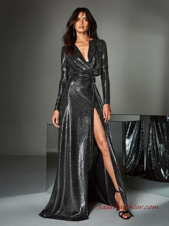2020 Pronovias Abiye Modelleri Siyah Uzun Kruvaze Yaka Uzun Kollu Yırtmaçlı Payetli