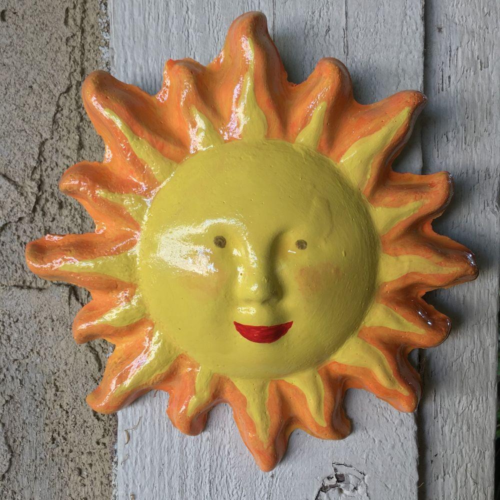 Handcrafted cement round light orange Sun wall hanging. Garden/yard ...