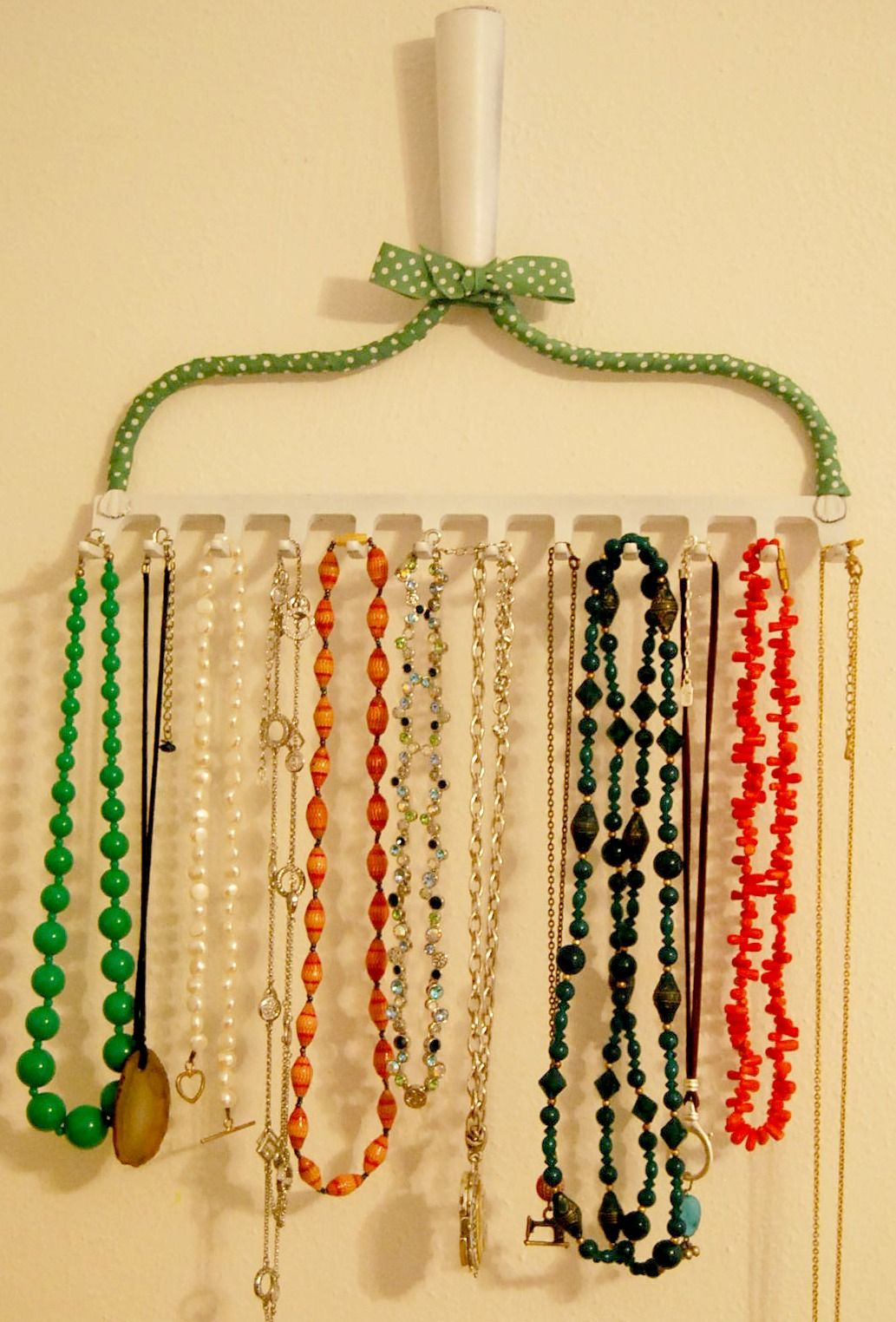 Recycled Rake Necklace Hanger Organizer Jewellery Storage
