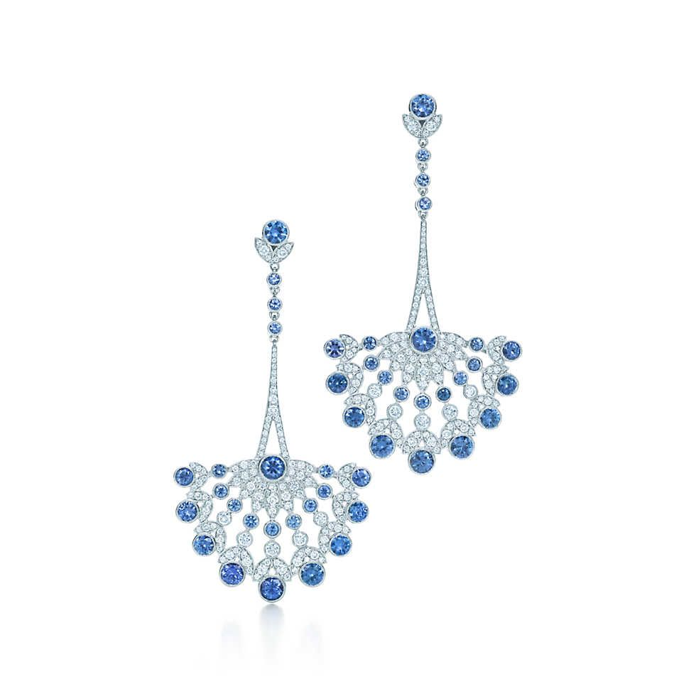 Earrings In Platinum With Montana Sapphires And Diamonds  Tiffany & Co
