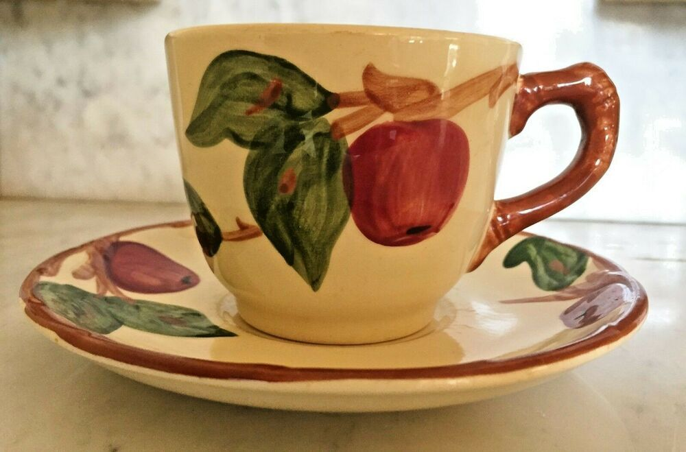 Vintage Franciscan Apple Pattern Cup And Saucer Nice Franciscan