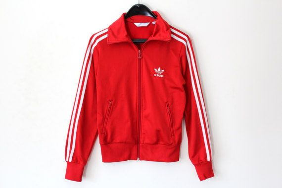 0c8fb510feeb Vintage Adidas Jacket White And Red Adidas Windbreaker Adidas Tracksuit  Rare Adidas Sweatrshirt 80s Track Top