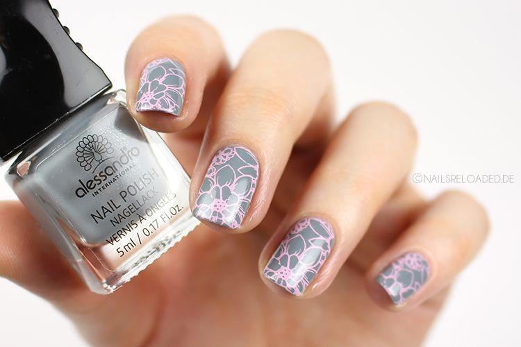 Nageldesign Grau Rosa Floral Nail Stamp 2 Pinterest Nail