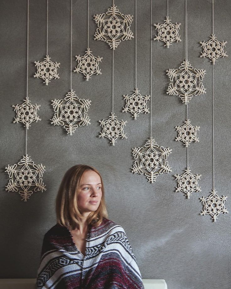Macrame snowflake, macrame Christmas decor, modern macrame, cotton rope, bohemian, макраме, декор, панно, diy, handmade, macrame wall hanging, snow, snowflake, winter decor, новогодний декор, christmas decor, macrame snow flake #diywalldecor
