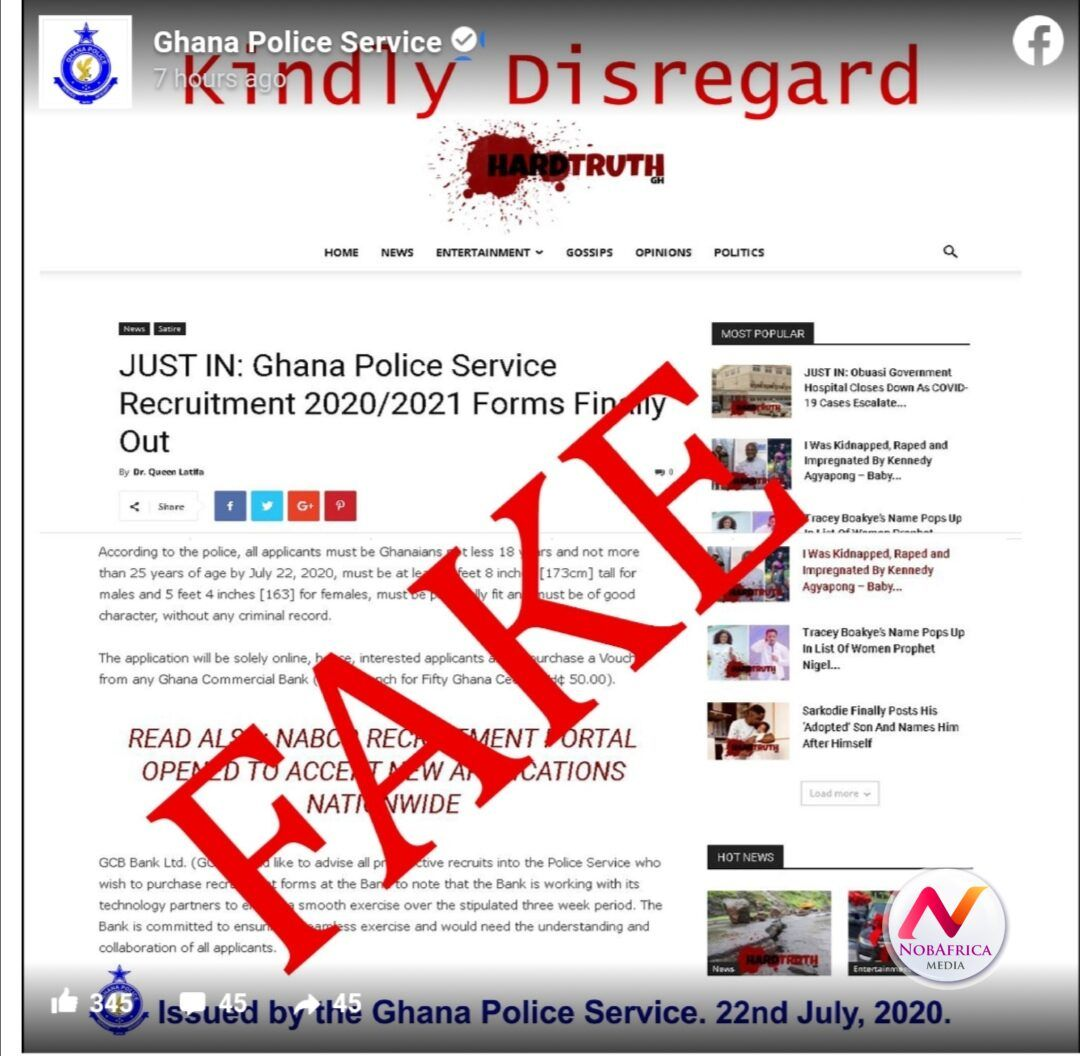 'We're not recruiting' Ghana Police Service in 2020