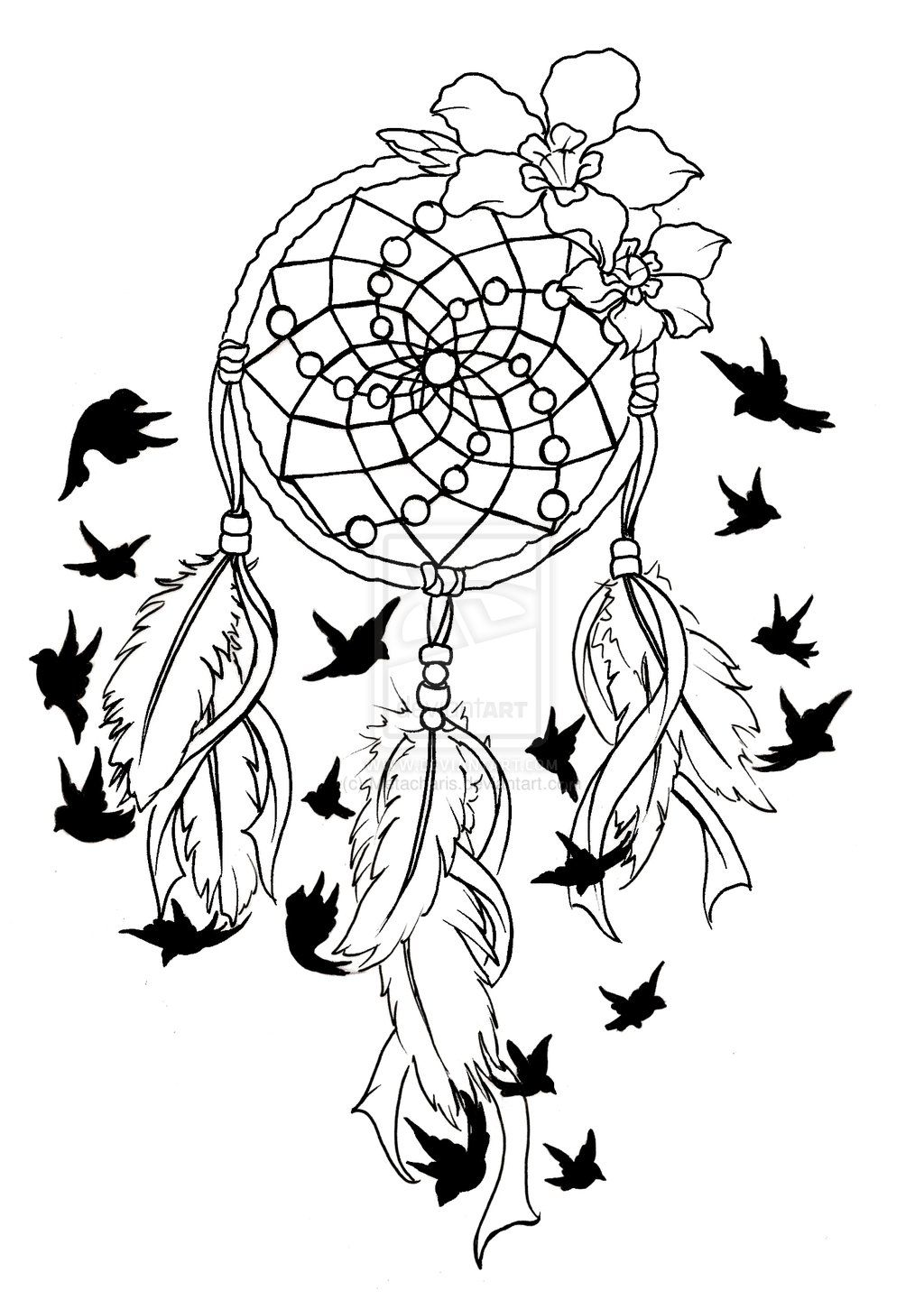 Coloring pages dream catchers - Dreamcatcher Birds Of A Feather Tattoo By Metacharis On Deviantart
