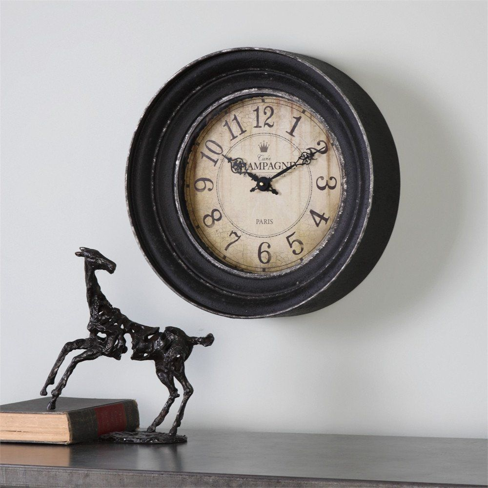 Uttermost melania aged black wall clock products black walls and