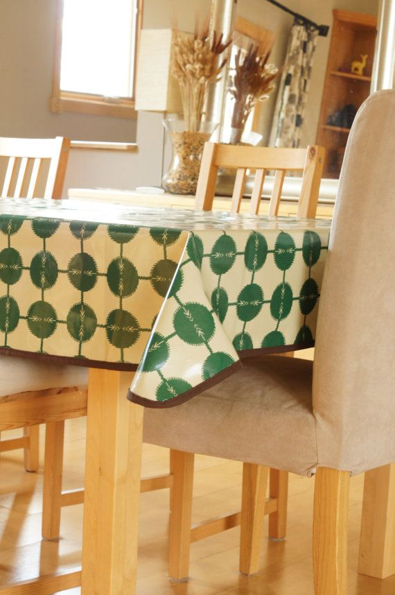 Laminated Cotton Tablecloth Green Arrow Cotton Tablecloths