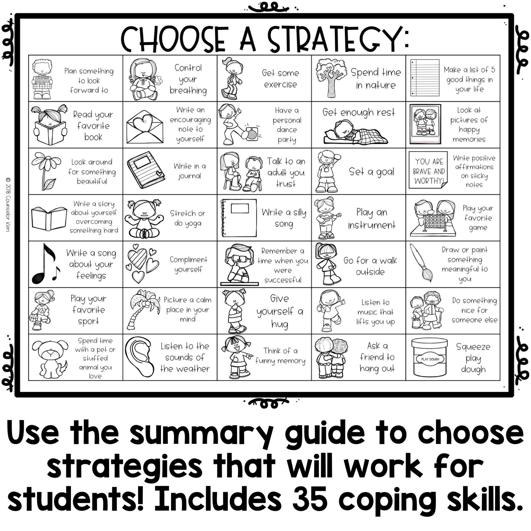 Coping Skills Color By Code Calming Strategies Activity