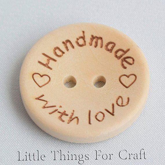Large Hand made with Love wooden tags 25 mm wood color sew