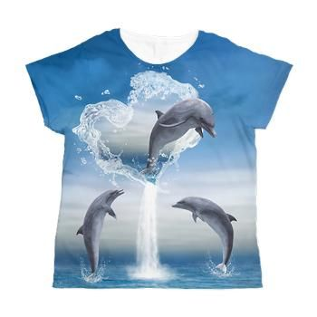 7fc14a87031 sold at @CafePress : #Dolphins #Women's All Over Print #T-Shirt The #Heart  Of The Dolphins - A #dolphin jumps out of the heart into the ocean. thanks  to the ...