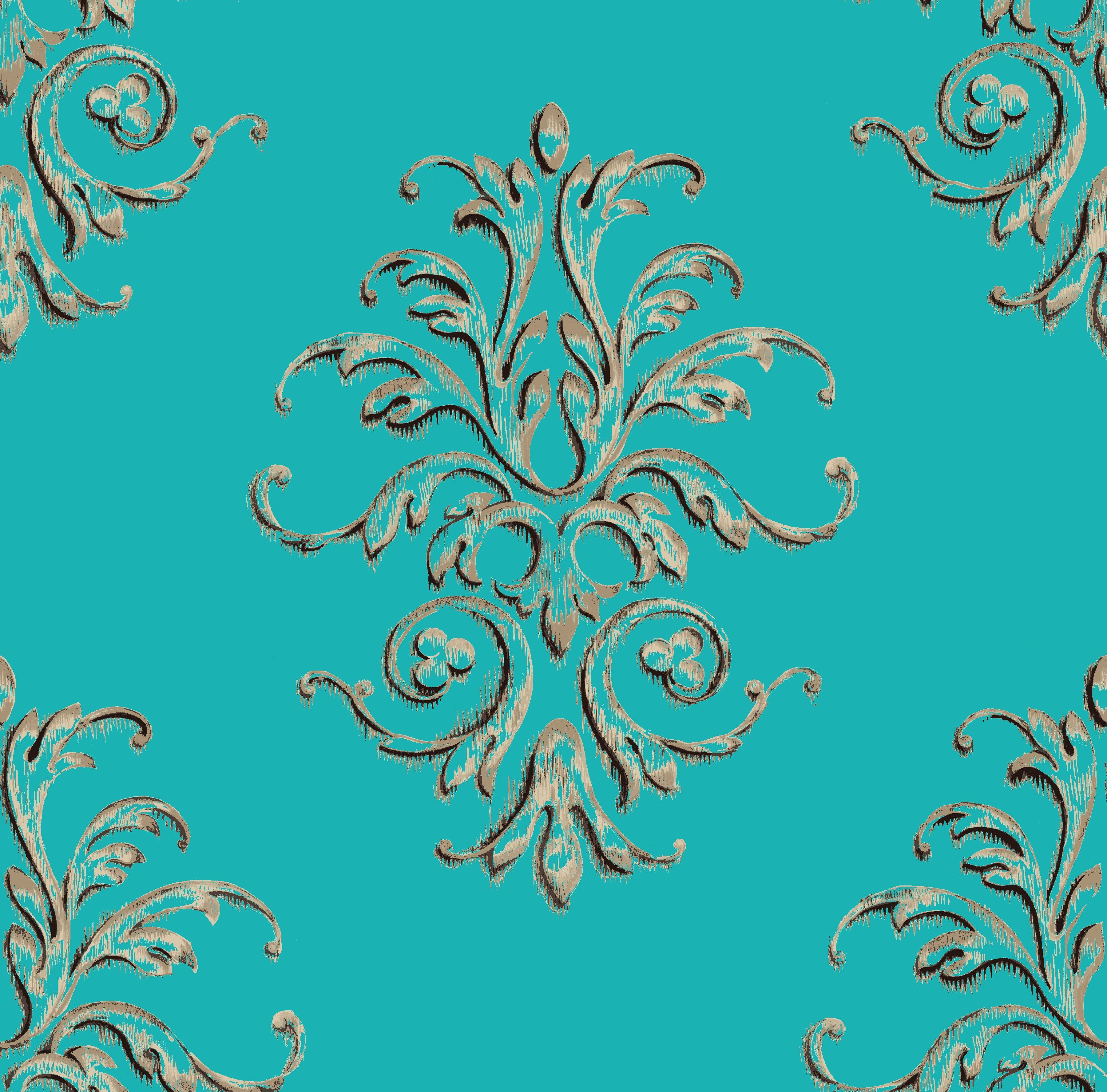 Teal baroque motif color teal cream size 24x 24 material imagine tile manufactures custom ceramic tile tile murals and decorative tile for creating themed environments in both commercial and residential spaces dailygadgetfo Image collections