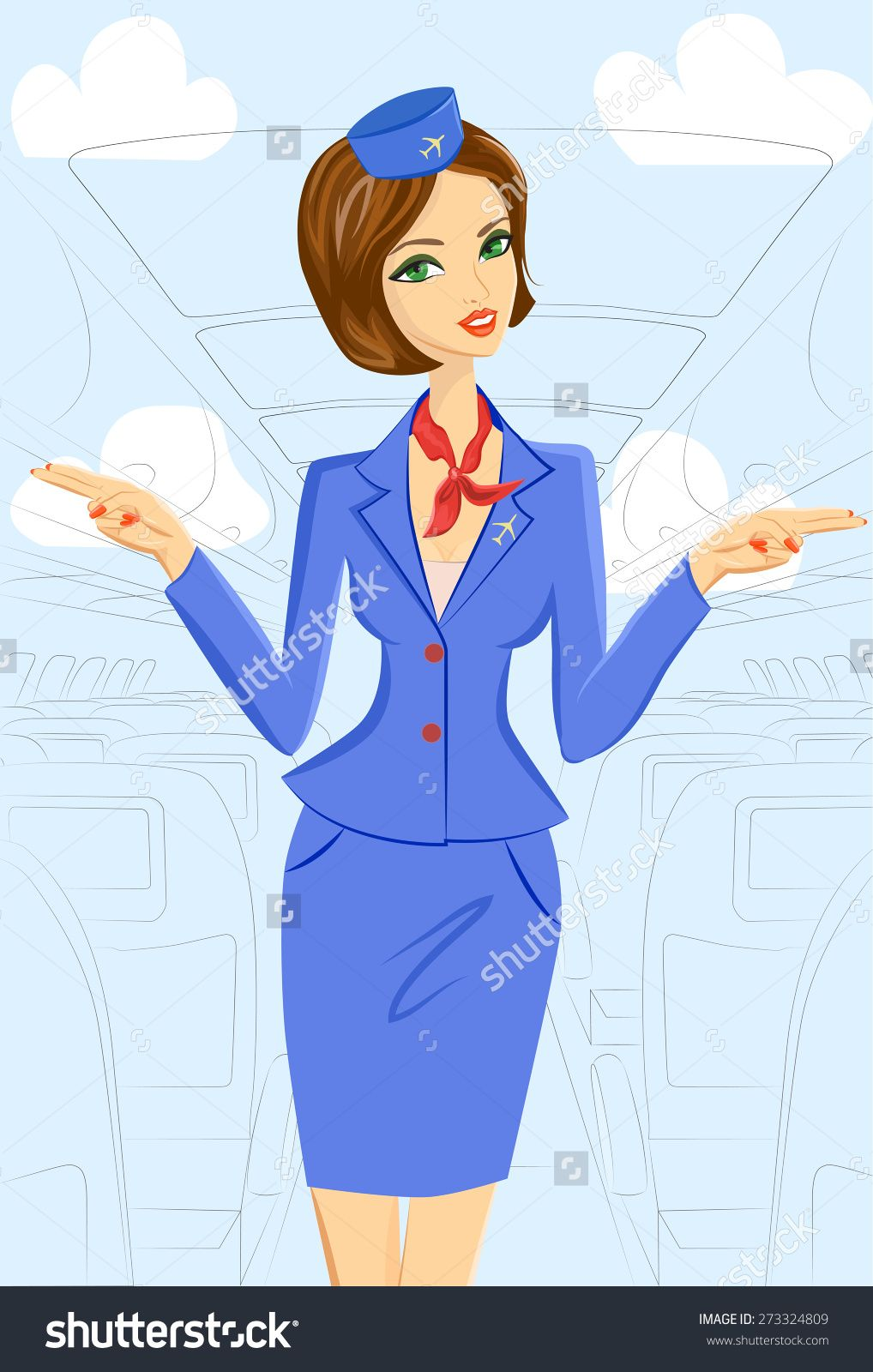 Air France Flight Attendant Cover Letter Cute Cheerful Female Flight Attendant In Blue And Red Uniform