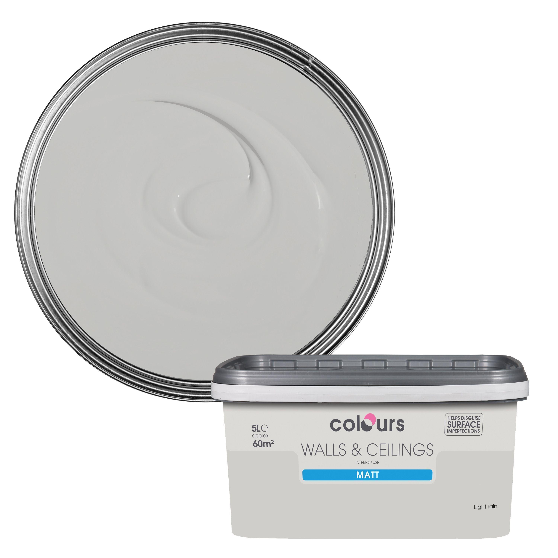 Colours Light Rain Matt Emulsion Paint 5L Departments
