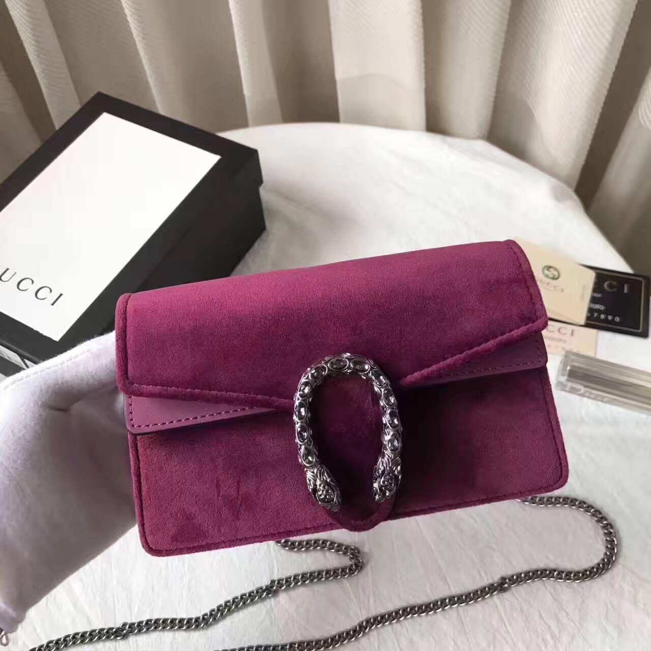 5c4b163096aa Gucci Dionysus Velvet Super Mini Bag 476432 Fuchsia 2017 | Gucci ...