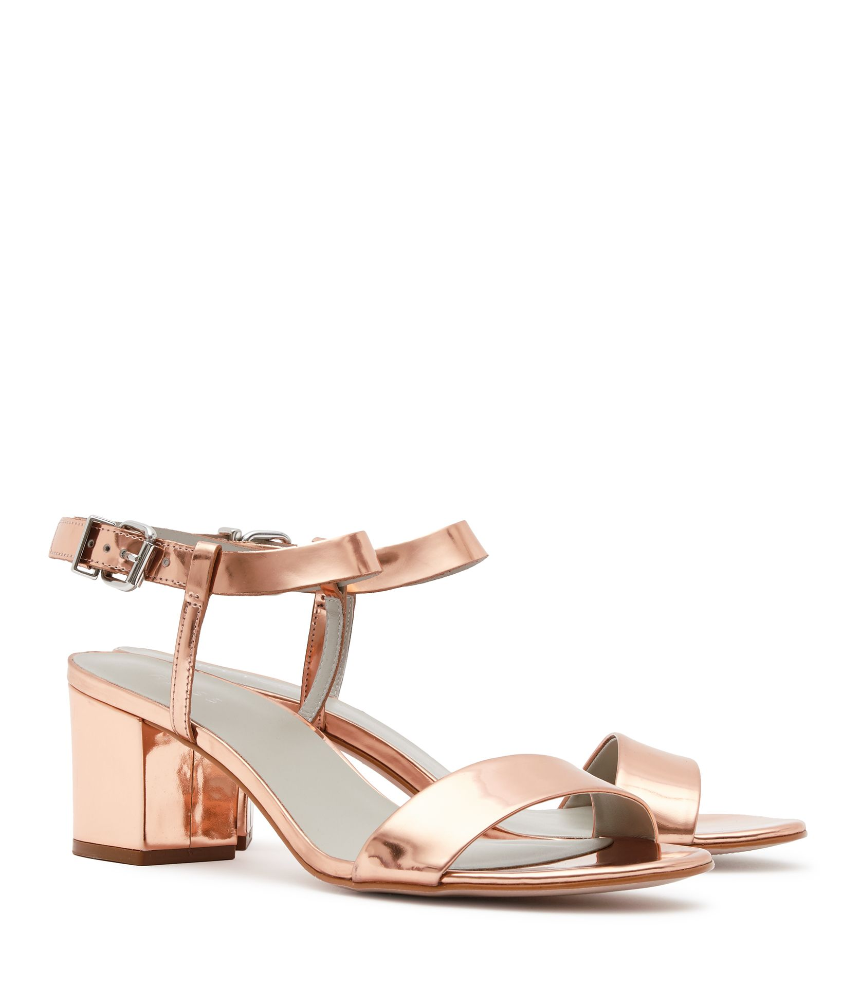 Womens Rose Gold Block Mid-heel Sandals - Reiss Vivi | For your ...