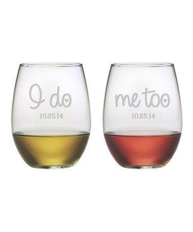 c6ec7177b2c I Do, Me Too' Stemless Wine glass - Set of Two   WINE   Wine glass ...