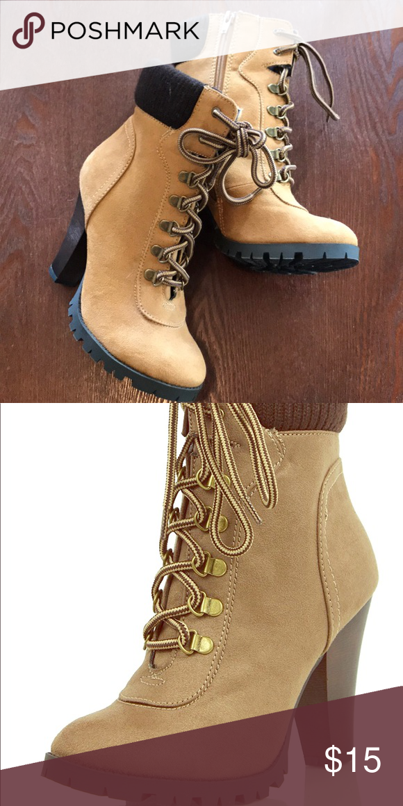 c5e3723a847 Sexy Work boots Size 7; tan camel suedette knock off timberland work ...